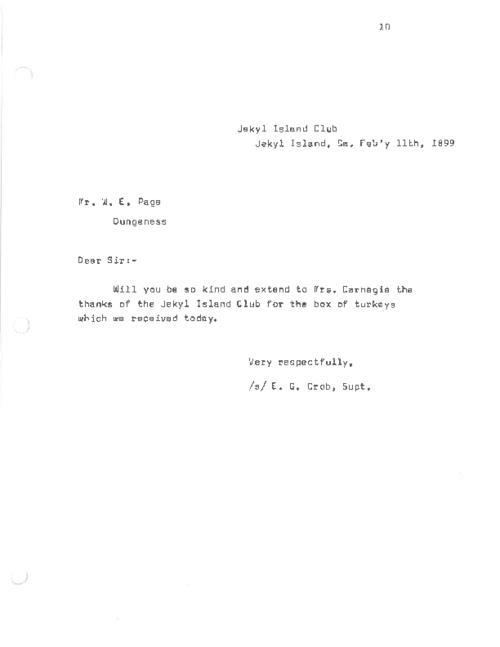 A letter written to W.E. Page requesting that he pass along thanks to Mrs. Carnegie for received goods.