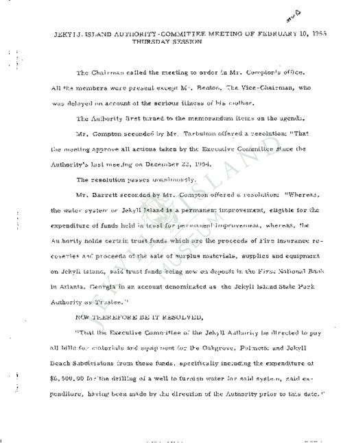 Jekyll Island Authority (JIA) board meeting minutes from the months of February/ April/ May/ July/ August - December 1955.