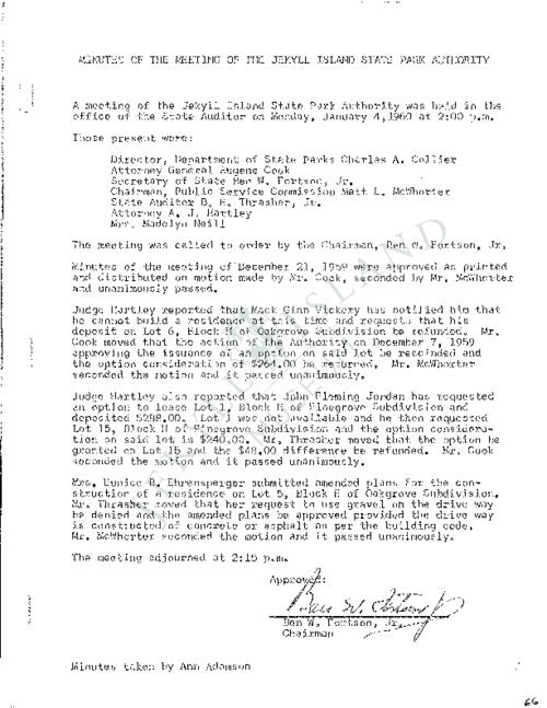 Jekyll Island Authority (JIA) board meeting minutes from the months of January - December 1960.