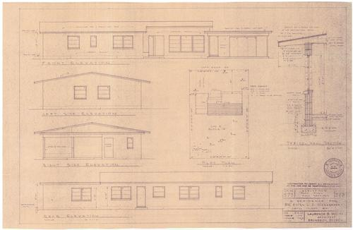 This is one of about 13 blueprints in a collection for 10 Captain Wylly Road; Oakgrove Subdivision block G lot 3. This blueprint shows the exterior elevations, the plot plan and wall sections., Hargreaves, Mr. and Mrs. L. A.
