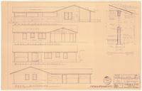 Exterior elevations and typical wall section. 3 of 3