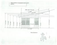 West elevation of proposed screen porch addition