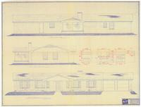 Front, rear and left side elevations: The Hilton (plan). 2