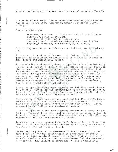 Jekyll Island Authority (JIA) board meeting minutes from the months of January - December 1962.