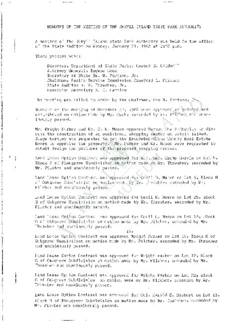 Jekyll Island Authority (JIA) board meeting minutes from the months of January-December 1963.