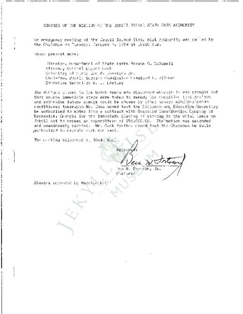 Jekyll Island Authority (JIA) board meeting minutes from the months of January - December 1964.