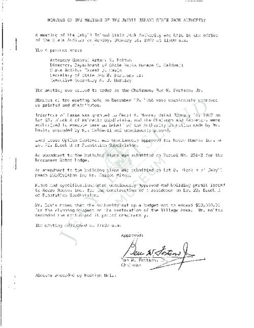 Jekyll Island Authority (JIA) board meeting minutes from the months of January - June/August - December 1967.