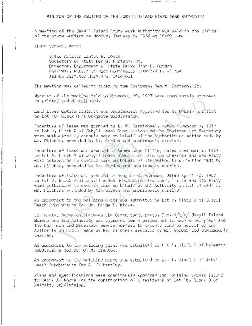 Jekyll Island Authority (JIA) board meeting minutes from the months of January - December 1968.