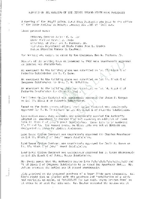 Jekyll Island Authority (JIA) board meeting minutes from the months of January - September/November - December 1969.