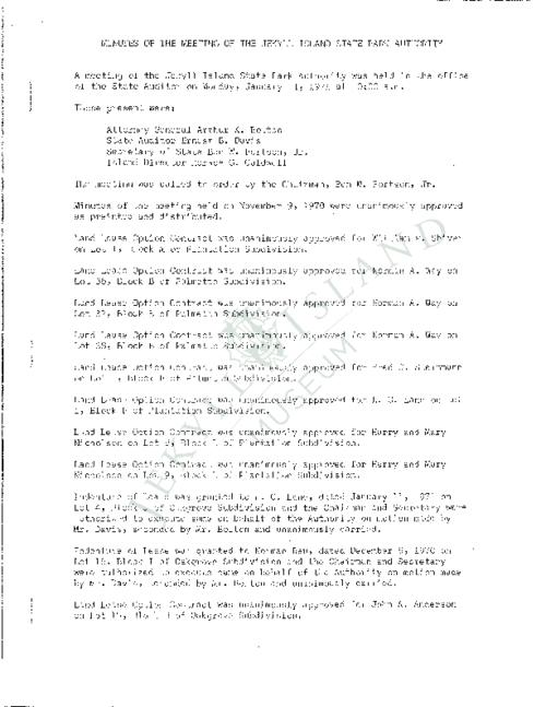 Jekyll Island Authority (JIA) board meeting minutes from the months of January - December 1971.