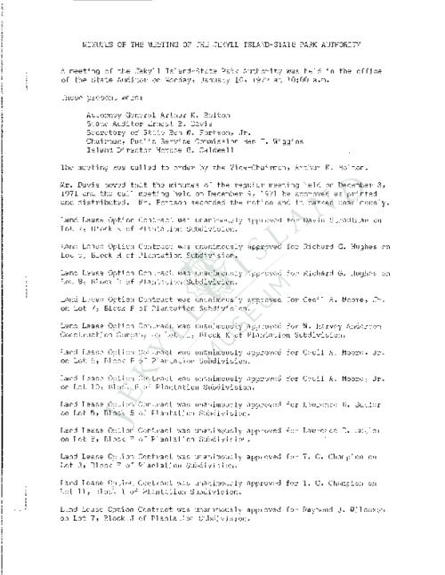 Jekyll Island Authority (JIA) board meeting minutes from the months of January - October/December 1972.