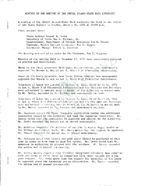 Jekyll Island Authority (JIA) board meeting minutes from the months of January - May/July - November 1974.