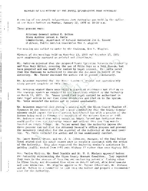 Jekyll Island Authority (JIA) board meeting minutes from the months of January - July/September - December 1976.