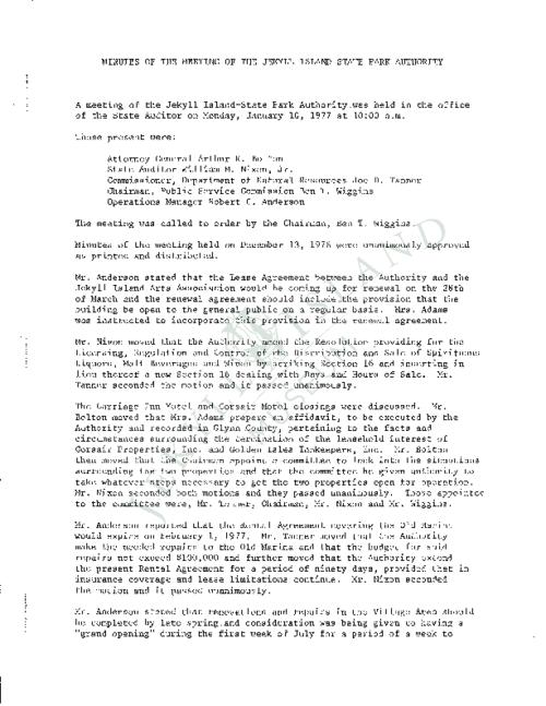 Jekyll Island Authority (JIA) board meeting minutes from the months of January - July/September - December 1977.