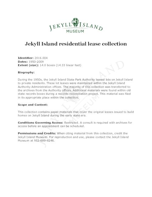 Finding aid for the Jekyll Island residential lease collection.