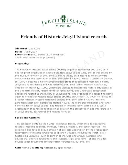 Finding aid for the Friends of Historic Jekyll Island records.
